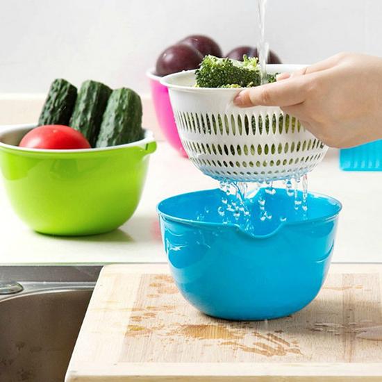 洗菜籃 瀝水籃 水果籃 洗菜盆 水果盆 洗菜 塑料籃 雙層迷你瀝水籃【N431】生活家精品