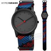 HyperGrand  / NW01BYLN / 新加坡品牌 首創印花設計 極簡面板 尼龍手錶 深灰x紅藍 38mm