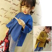 女童時尚後背印花上衣 兒童寬鬆不規則蝙蝠袖T恤 安妮塔小舖
