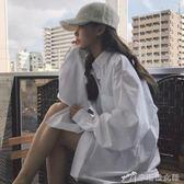 Chic早秋白襯衫女女裝港味長袖慵懶上衣寬鬆襯衣外套 辛瑞拉
