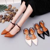 5cm細跟中跟尖頭高跟鞋女一字扣休閒性感鏤空涼鞋低跟女單鞋 森雅誠品