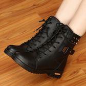 馬丁靴 冬季馬丁靴英倫風雪地棉鞋加絨學生皮鞋短靴女鞋子短筒粗跟女靴子 LN6140 【雅居屋】
