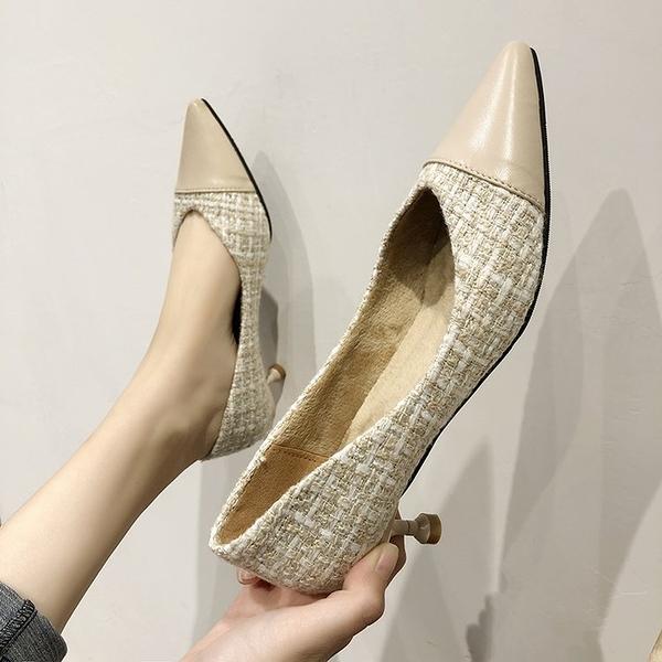 PAPORA百搭保暖併接小包鞋跟鞋KK9447休閒鞋 黑色 /米色