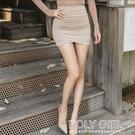 窄裙 韓國 莫負時光 性感高腰淺米褶皺包臀半身裙緊身短裙