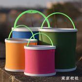 釣魚桶打水桶帶繩折疊多功能加厚魚護桶便攜小號活魚桶手提式漁具 QQ9137『東京衣社』