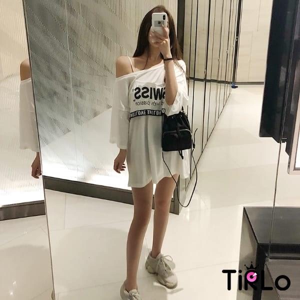 短T -Tirlo-性感慵懶假兩件短T-兩色