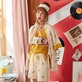 和服睡衣女夏季純棉短袖甜美吊帶可外穿夏天家 igo 嬡孕哺 免運