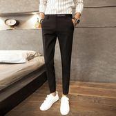 九分褲 男修身小腳薄款青年日韓潮流免燙彈力9分西裝褲男 巴黎時尚
