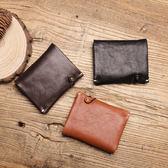 【Solomon 皮件設計】圓釦綁帶真皮直式短夾 內層拉鍊零錢袋  牛皮男夾短夾皮夾皮包錢包 83S14