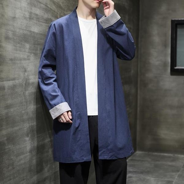 促銷 中國風秋季中長款風衣中式復古風漢服茶服禪修服寬松道袍披風外套