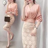 2019春夏新款女裝氣質蕾絲半身裙兩件套名媛小香風女神范套裝裙子 Mt9057『Pink領袖衣社』