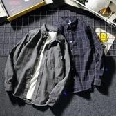 日繫襯衫潮牌青少年學生長袖男士休閒格子襯衣