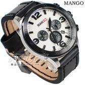 MANGO HOMME 厚實三眼多功能計時碼錶 加厚皮帶錶 男錶 黑色 MG950014-88