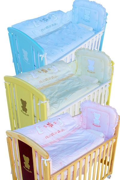 夢貝比親親熊大床+雙熊寶貝八件式嬰兒床被組(L)