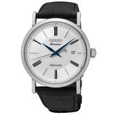 【僾瑪精品】SEIKO 精工 Premier 超薄經典羅馬機械錶-銀x黑/4R35-01C0P(SRPA17J2)