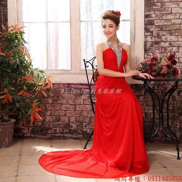 (45 Design)       7天到貨 新款新娘禮服晚會演出結婚敬酒服孕婦豐滿公司年會掛脖晚禮服