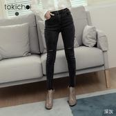 東京著衣-tokichoi-個性風貌丹寧膝割破牛仔窄管褲-S.M.L(191368)
