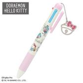〔小禮堂〕Hello Kitty x 哆啦A夢 日製造型多色原子筆自動鉛筆《粉米》0.5mm.多色筆.三色筆 4901610-03785