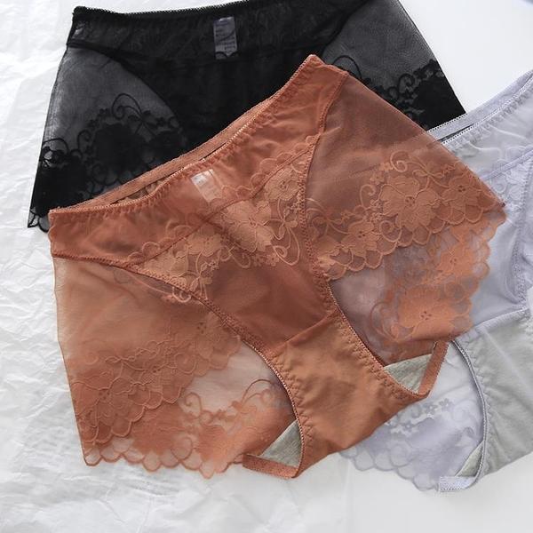 促銷 超柔軟網紗中腰蕾絲內褲女 性感透明包臀無痕內褲女式三角褲大碼