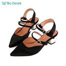 Bo Derek 尖頭踝帶低跟涼鞋-黑色...