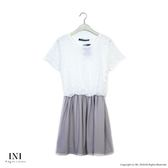 【INI】好感風格、腰鬆緊一件式設計長版上衣.灰色