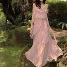 仙氣連衣裙夏巴厘島沙灘裙2019新款海邊度假裙ins超火吊帶裙長裙「時尚彩紅屋」