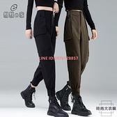 黑色工裝褲女束腳褲寬鬆顯瘦高腰夏季薄款速干休閒褲子女【時尚大衣櫥】