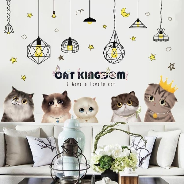 壁貼壁紙3D立體貓咪墻貼紙貼畫小清新床頭溫馨創意背景墻壁自粘房間裝飾品推薦