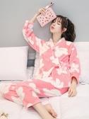 和服睡衣睡衣女冬家居服日式和服繫帶甜美可愛珊瑚絨睡衣和風月子套裝保暖  夏季上新