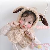 兒童帽子秋冬季圍巾壹體帽護耳帽女童嬰可愛【聚可愛】