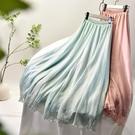 2021春夏季新款雪紡褲雙層薄光澤垂感寬松文藝舞蹈中國風闊腿褲女 小艾新品