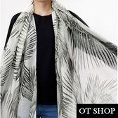 OT SHOP圍巾 秋冬氣質時尚梠莫蘭迪色調燙銀流蘇設計棉質圍巾披肩 墨綠棕梠 現貨 D8002