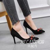 現貨  621-022  鞋子韓版百搭時尚細跟高跟士鞋子尖頭淺口單鞋潮