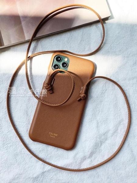 蘋果12手機殼iphone12手機殼斜挎可背帶掛繩蘋果11promax高級感皮質背包式celine大牌快速出貨