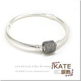 銀飾純銀手環 潘朵拉適用 特價圓桶滿鑽 年度精選蛇鍊款 19cm 925純銀寶石手鍊手環 KATE銀飾
