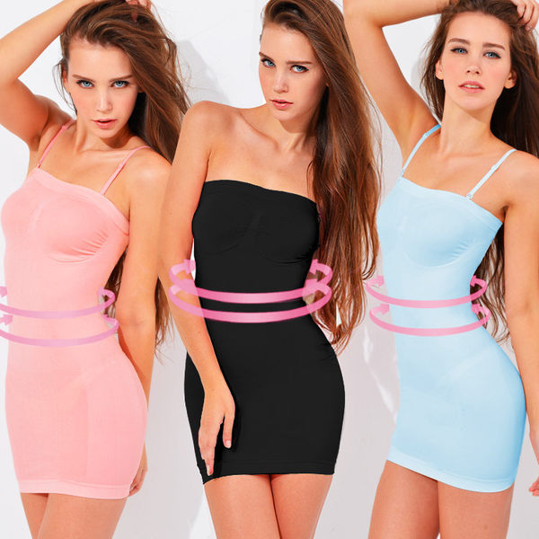 魔法e裳《平口長版3D美體衣 》3D超彈力*輕機能塑身衣*可當長版襯裙背心-D020