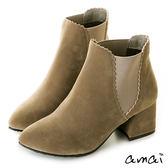 amai尖頭絨布滾邊設計彈性拼接粗跟短靴 駝