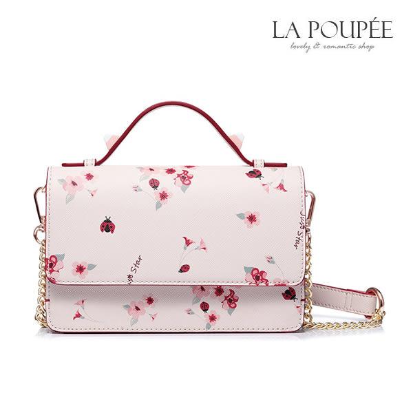側背包 甜蜜花園瓢蟲花朵小方包 3色-La Poupee樂芙比質感包飾 (現貨+預購)
