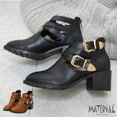 短靴 鏤空交叉扣飾短靴 MA女鞋 T5620