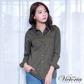 Victoria 水洗休閒長袖襯衫-女-綠/藍底白條