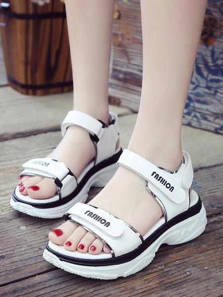 運動涼鞋女夏季韓版時尚厚底學生百搭魔術貼女鞋子沙灘鞋 格蘭小鋪