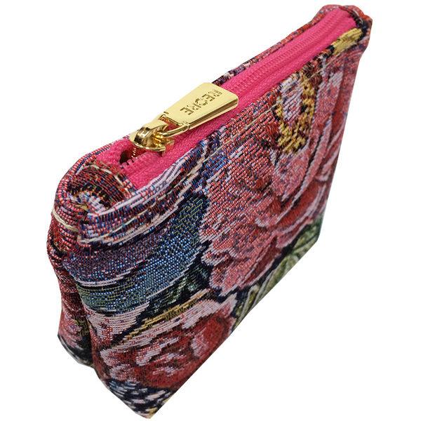 零錢包-復古牡丹織畫緹花拉鍊零錢包 桃紅-REORE