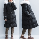 黑色大毛領連帽棉衣女 秋冬新款鬆緊高腰顯瘦加肥夾棉長袖中長大衣‧復古‧衣閣