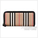 BURBERRY Icon Stripe燙金LOGO條紋設計環保帆布6卡拉鍊長夾(典藏米)