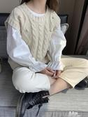 針織衫春秋新款復古馬甲女寬鬆圓領毛衣無袖坎肩背心針織衫學生上衣 易家樂