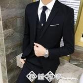 春夏西服套裝男三件套韓版修身小西裝男士職業裝禮服學生帥氣正裝 西城故事