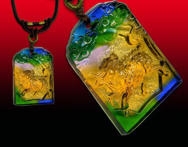 鹿港窯~居家開運水晶琉璃項鍊~麒麟佩 附精美包裝◆免運費送到家