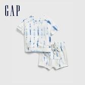 Gap嬰兒 紮染短袖短褲套裝 691393-藍色紮染