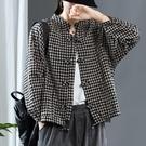 大碼女裝春秋新款復古盤扣格子棉麻開衫抽繩擺格紋上衣外套女襯衫 設計師