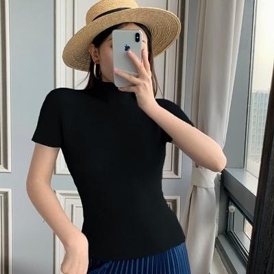 短袖T恤-褶皺高領輕薄氣質高彈力女上衣14色73zs4[巴黎精品]